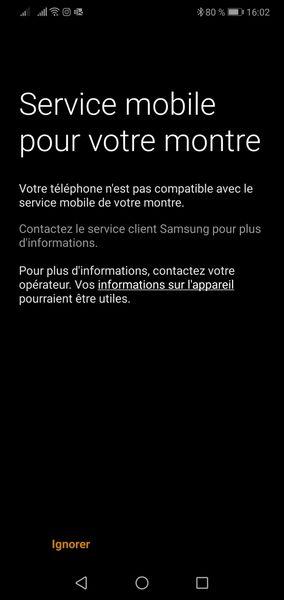 Message lors de la configuration option montre connectée