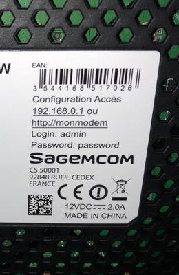 Etiquette login-password sous le modem