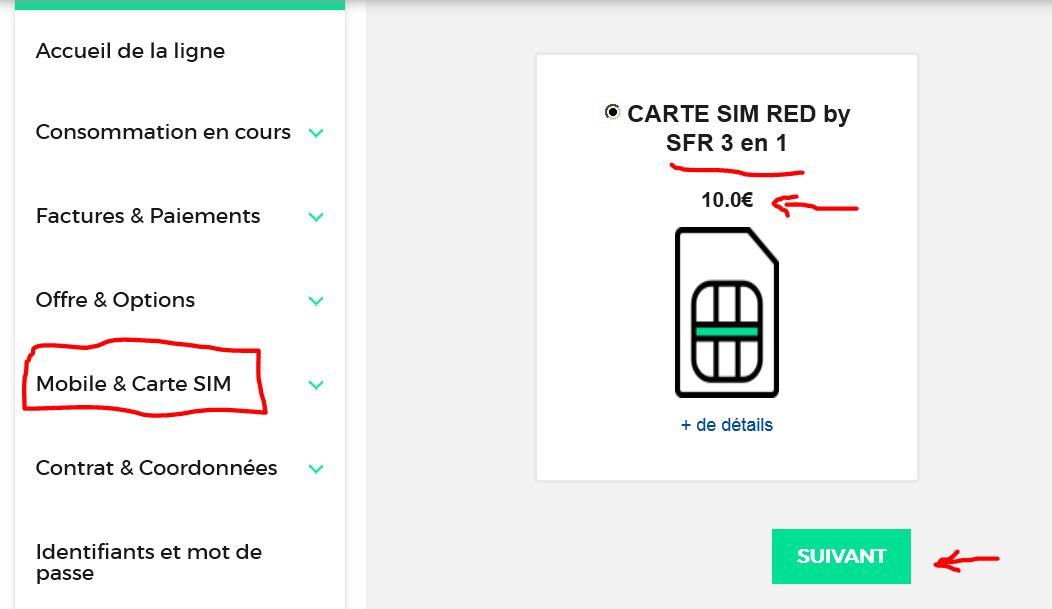 Red sfr mobile et carte sim